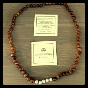 Canyon leaf baltic Amber necklace with pearls